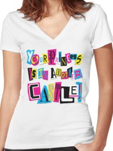 PRINCESS RANSOM NOTE Women's Fitted V-Neck T-Shirt