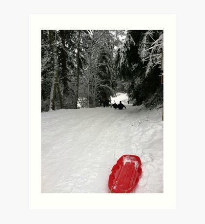 Red sleigh Art Print