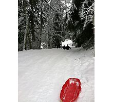 Red sleigh Photographic Print