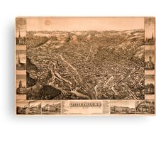 Panoramic Maps Little Falls NY Canvas Print