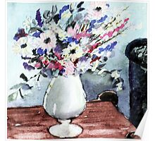 Vase of flowers on side table Poster