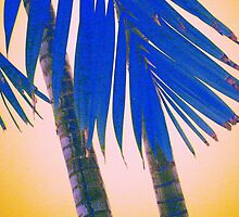 blue palmtree and yellow sky abstract by Ronald Eschner