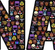 Five Nights at Freddys - Pixel art - FNAF typography (Black BG) by GEEKsomniac
