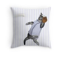 Baseball Catcher Kitten Throw Pillow