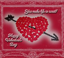 Valentine's Day Greeting Card - Candy Heart Licorice Arrow by MotherNature