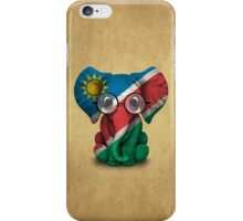 Baby Elephant with Glasses and Namibian Flag iPhone Case/Skin