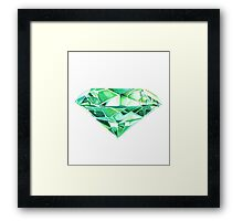 Green Emerald Watercolor  Framed Print