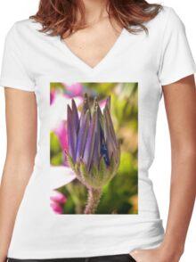 Macro Flower  Women's Fitted V-Neck T-Shirt