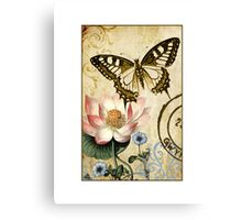 Lotus and Butterfly Canvas Print