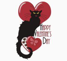 Happy Valentine's Day Le Chat Noir Kids Tee