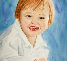 Watercolor Portrait of a Young Boy by Teddie McConnell