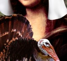Mona Lisa Thanksgiving Pilgrim Sticker