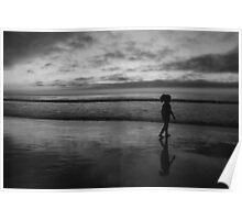 #1071 Sunset In Carmel In B&W Poster