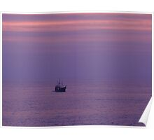 "Purple Ocean With The ""Pirate"" Ship - Océano Violeta con Marigalante Poster"