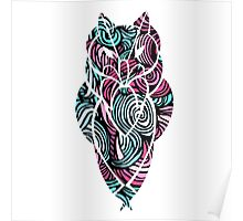 Owl Mosaic Blue / Red  Poster