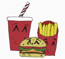 Cute fast food cartoon One Piece - Short Sleeve