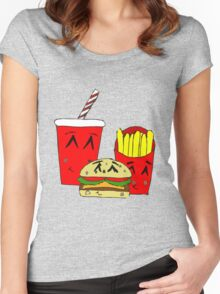 Cute fast food cartoon Women's Fitted Scoop T-Shirt