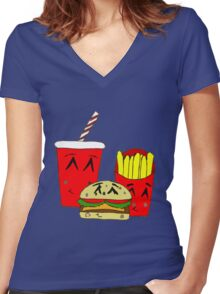 Cute fast food cartoon Women's Fitted V-Neck T-Shirt
