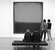 PEOPLE AT AN EXHIBITION (MONOTONE) by Thomas Barker-Detwiler