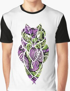 Owl Mosaic Pink / Green  Graphic T-Shirt