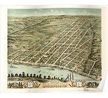 Panoramic Maps Bird's eye view of the city of Clarksville Montgomery County Tennessee 1870 Poster