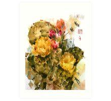 Southwest Sumi- Prickley Pear Art Print