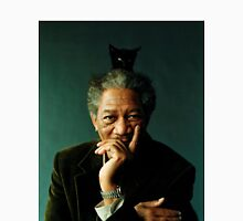 Morgan Freeman with a Cat on his Head T-Shirt