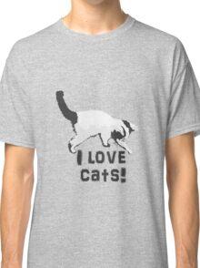 I love cats! (Black & White) Classic T-Shirt