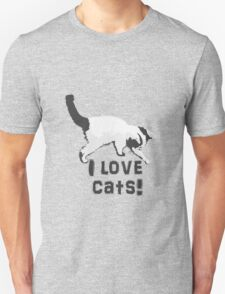 I love cats! (Black & White) Unisex T-Shirt