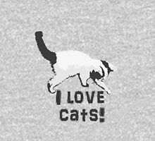 I love cats! (Black & White) Hoodie