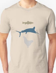 The Marlin, the Trout, and the Chicken Unisex T-Shirt