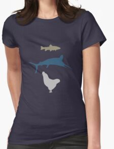 The Marlin, the Trout, and the Chicken Womens Fitted T-Shirt
