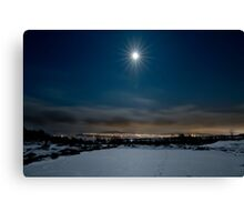 Full moon over Tromsø city Canvas Print