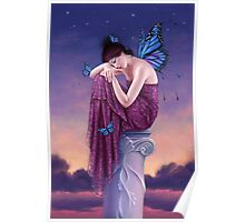 Sunset Blue Monarch Butterfly Fairy Poster