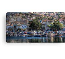 The picturesque harbour of Elounda Canvas Print