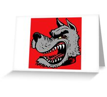 Angry Wolf (Red Collar) Greeting Card