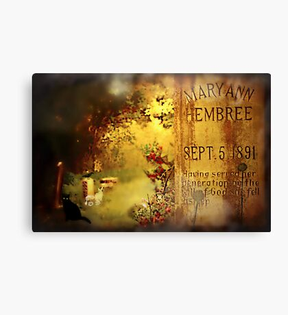 The Death of Mary Ann Canvas Print