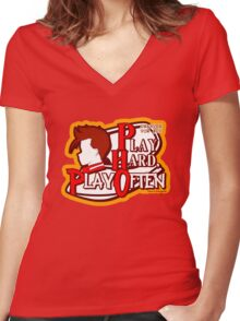 Dwarven Vow #10 - Play hard, play often! Women's Fitted V-Neck T-Shirt