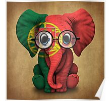 Baby Elephant with Glasses and Portuguese Flag Poster