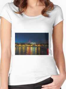 Victoria Embankment, London, at night Women's Fitted Scoop T-Shirt