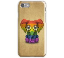 Baby Elephant with Glasses and Gay Pride Rainbow Flag iPhone Case/Skin