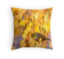 Silvereye and Gold Throw Pillow