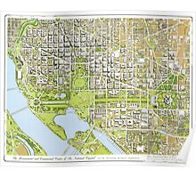 Panoramic Maps The monumental and commercial center of the national capital Washington Poster