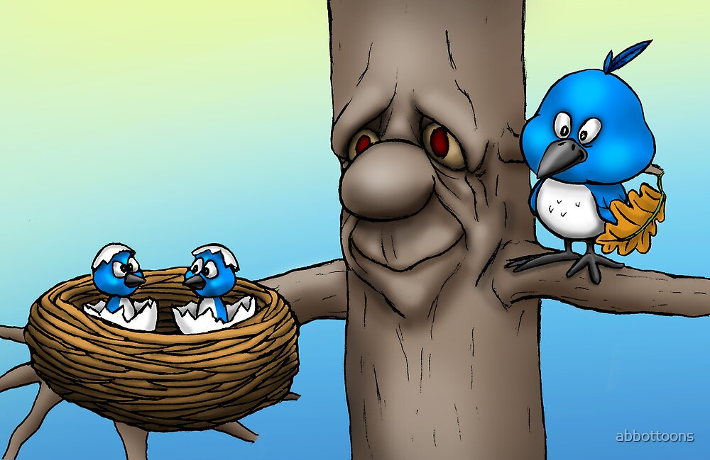 Mom and Baby Birds by abbottoons
