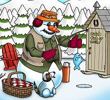 Ice Fishing Snowman by abbottoons