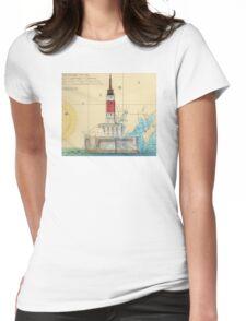 Minneapolis Shoal Lighthouse MI Nautical Chart Map Womens Fitted T-Shirt