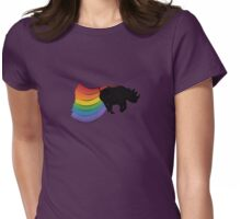 Rhino Rainbow Power! Womens Fitted T-Shirt