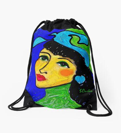 Green Eyed Lady Drawstring Bag