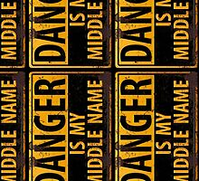 "Funny, ""DANGER, Is My Middle Name"" Metal with Rust Sign, vertical by 26-Characters"