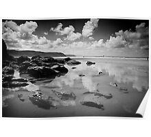 Rock Pool in Mono Poster